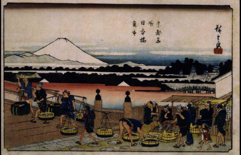作品画像:東都名所 日本橋魚市