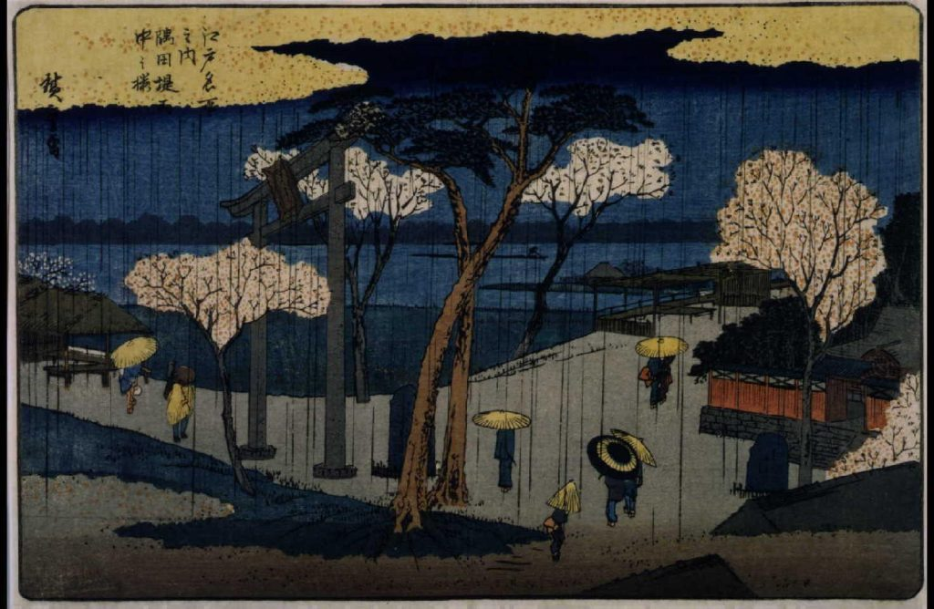 作品画像:江戸名所之内 隅田堤雨中之桜