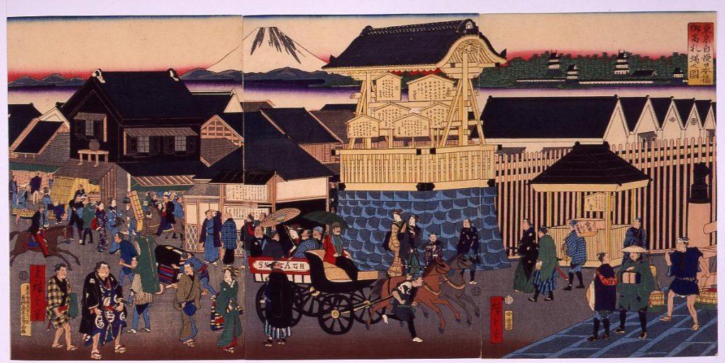 作品画像:東京自慢日本橋御高札場之図