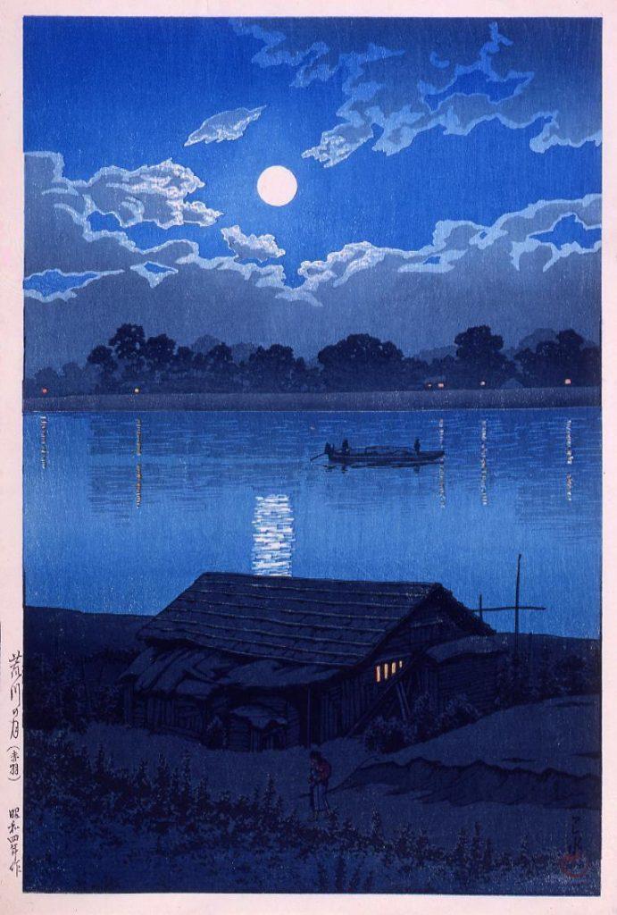 作品画像:東京二十景 荒川の月 試摺