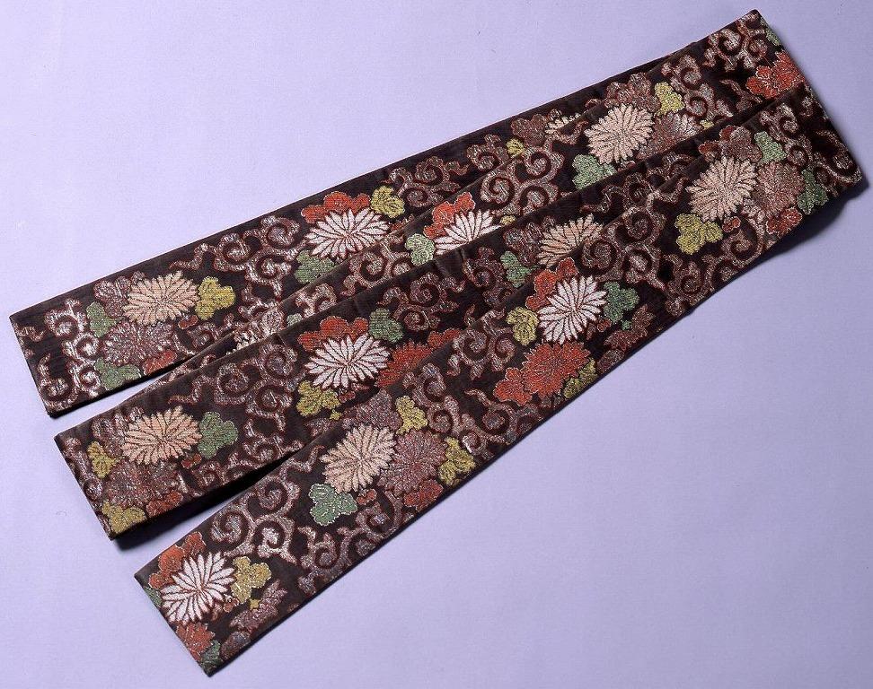 作品画像:菊に唐草模様付帯(堤帯)