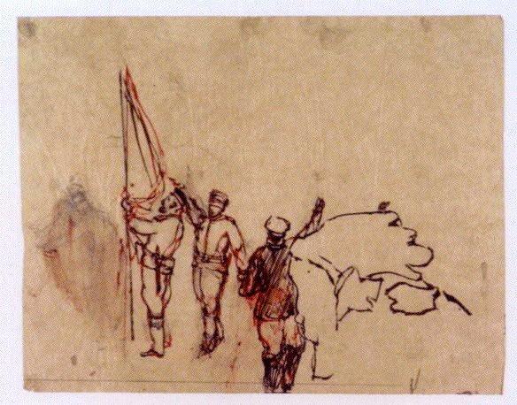 下絵 「振天府」(旗を持つ軍人)
