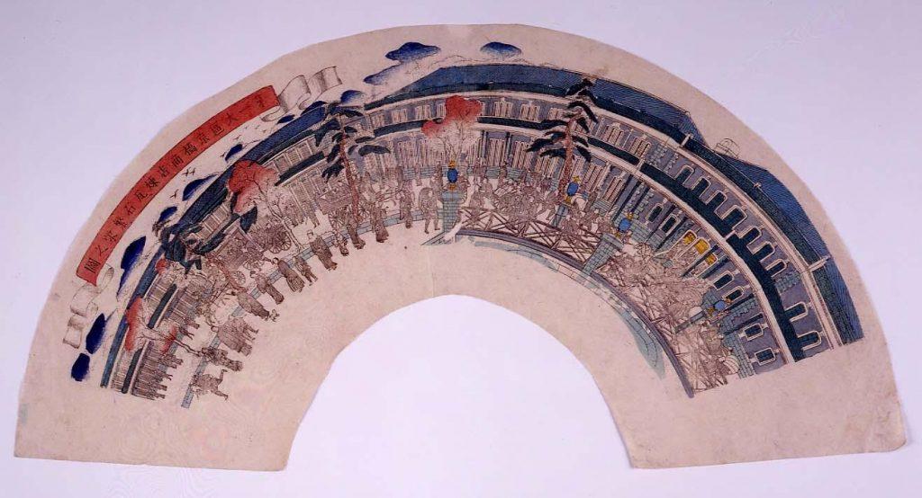 作品画像:団扇絵 第一大区京橋商店煉瓦石繁栄之図