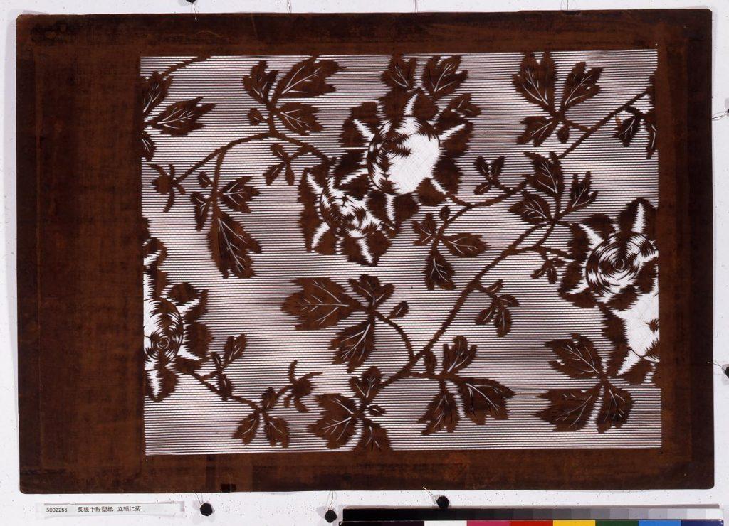 長板中形型紙 立縞に菊