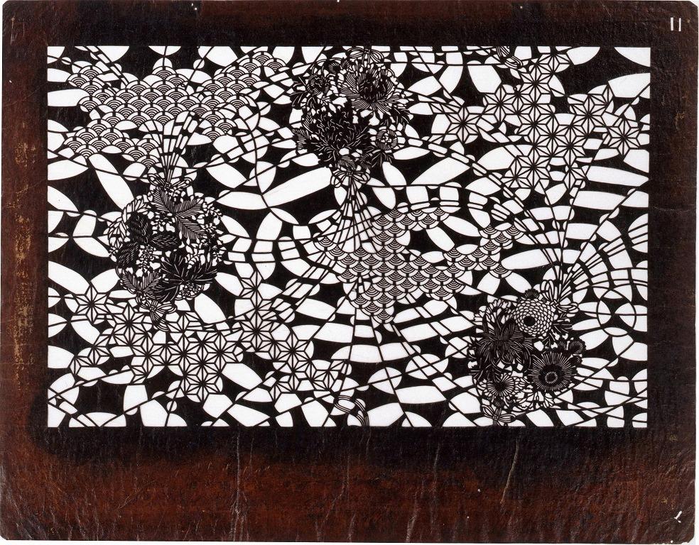 作品画像:長板中形型紙 くす玉 (小判 追掛)
