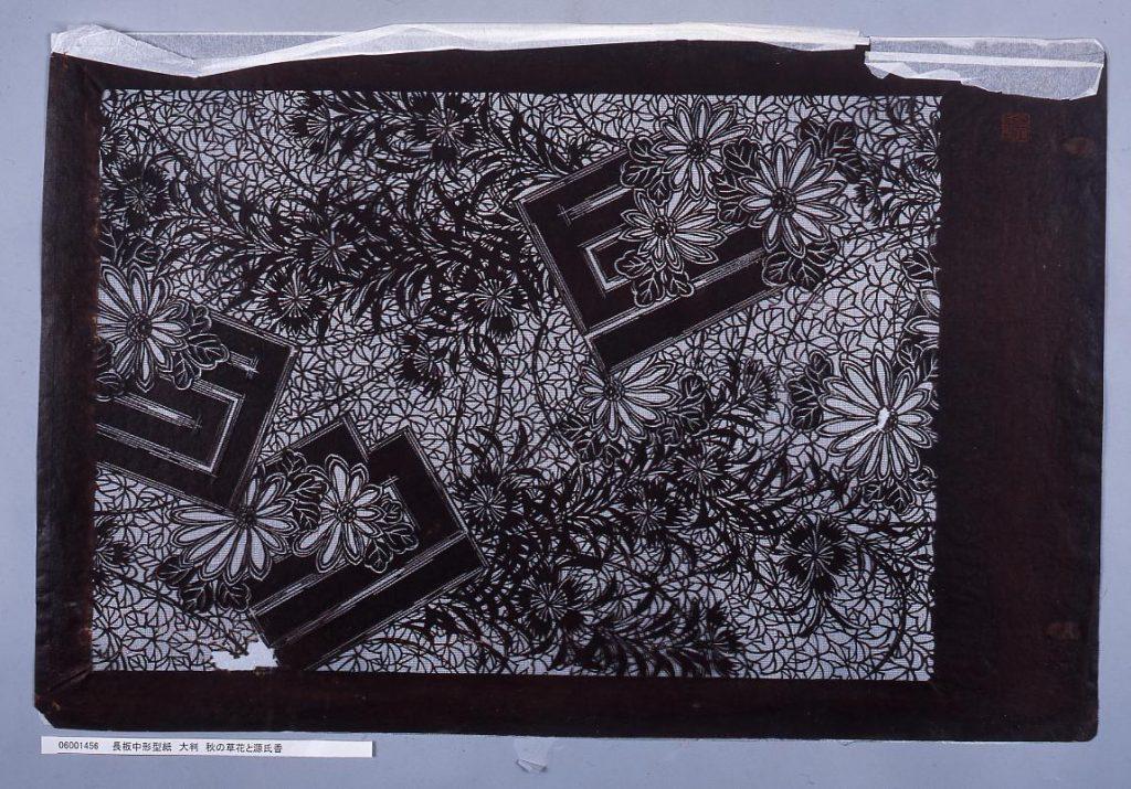 作品画像:長板中形型紙 大判 秋の草花と源氏香