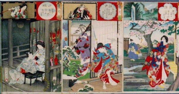 作品画像:雪月花 江戸本所の雪・山城古寺雨後の月・相模横山の花