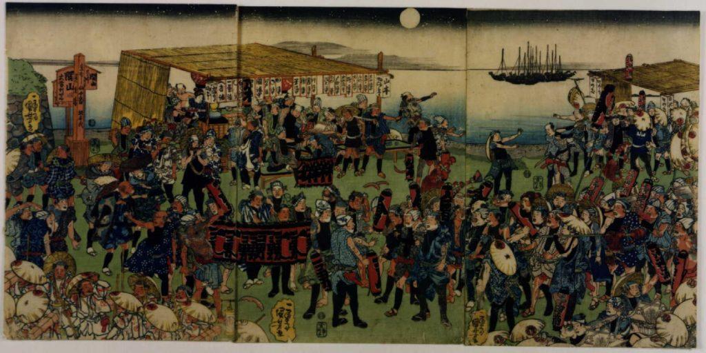 作品画像:高輪大木戸の大山講と富士講