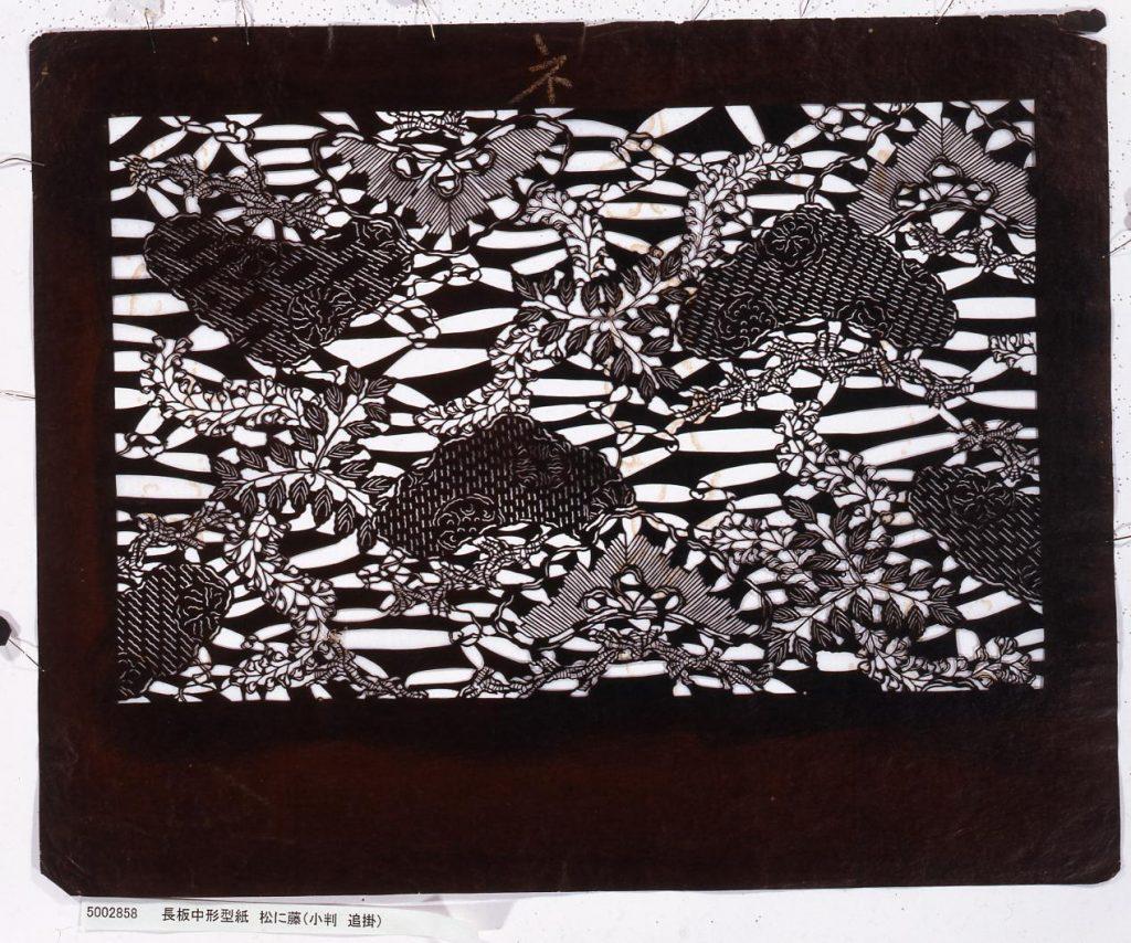 作品画像:長板中形型紙 松に藤(小判 追掛)
