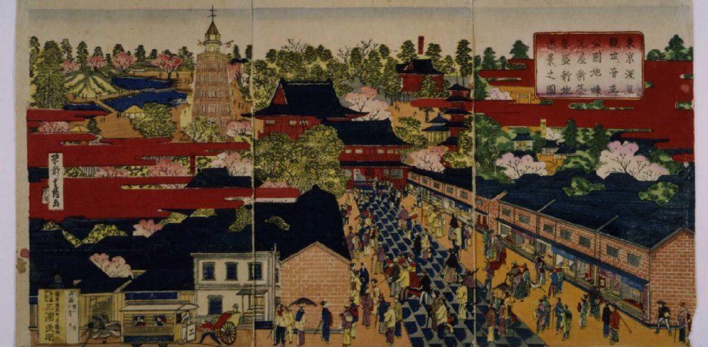作品画像:東京浅草観世音並ニ公園地煉瓦屋 新築繁盛新地遠景之図