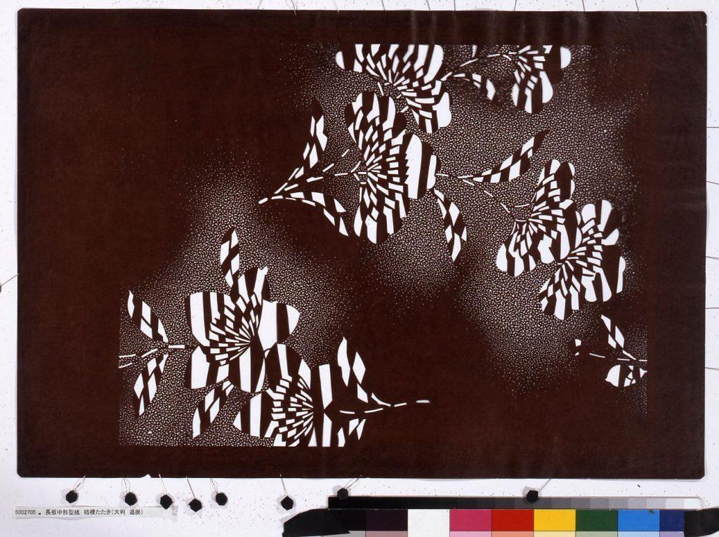 作品画像:長板中形型紙 桔梗たたき(大判 追掛)