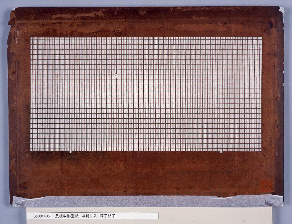 作品画像:長板中形型紙 中判糸入 障子格子