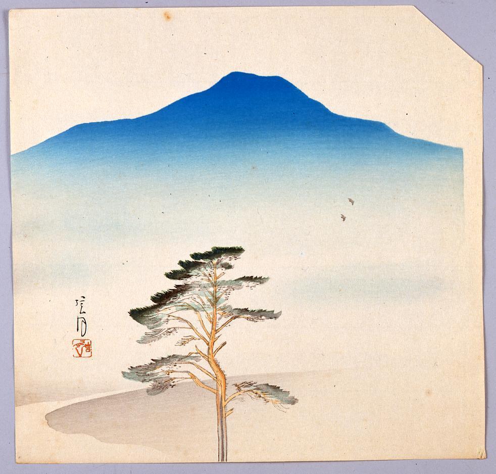 作品画像:榛原聚玉堂版団扇絵 遠山に一本松