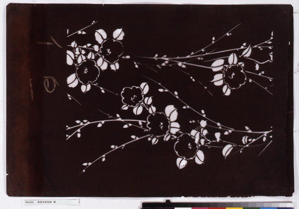 作品画像:長板中形型紙 椿