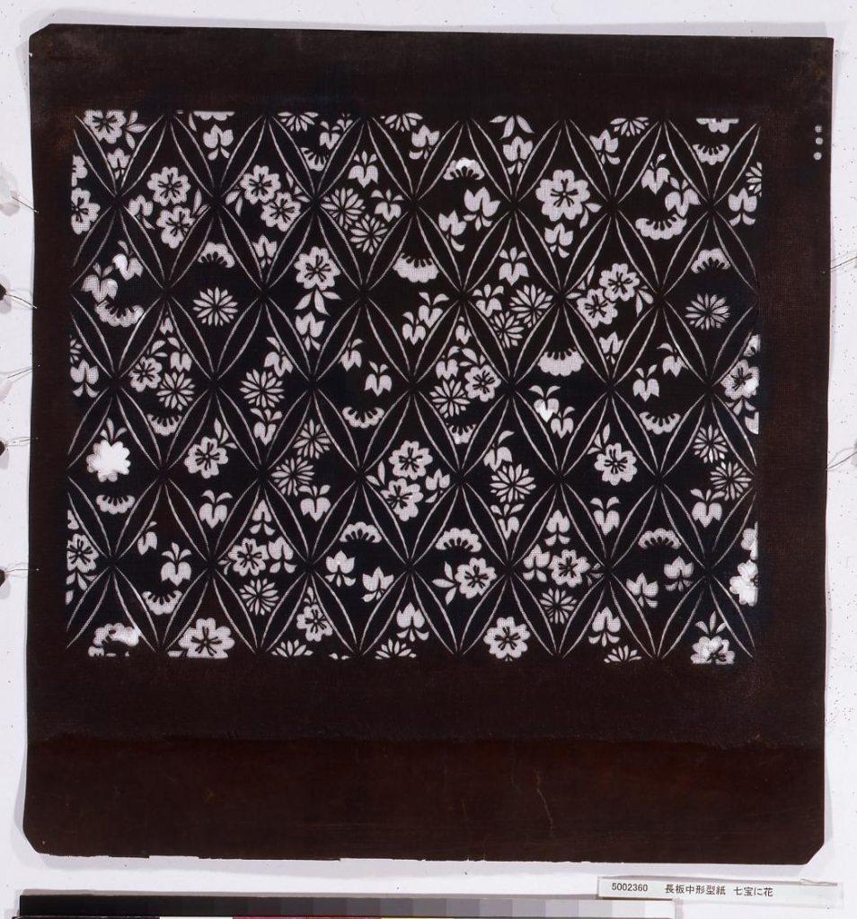 作品画像:長板中形型紙 七宝に花