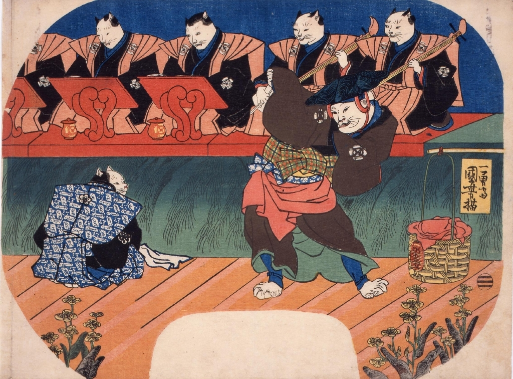 作品画像:団扇絵 猫の歌舞伎 出語り図