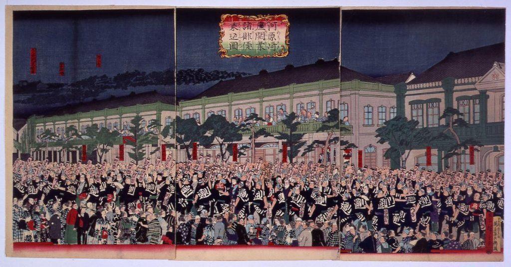 作品画像:河原崎座開業諸俳優乗込之図