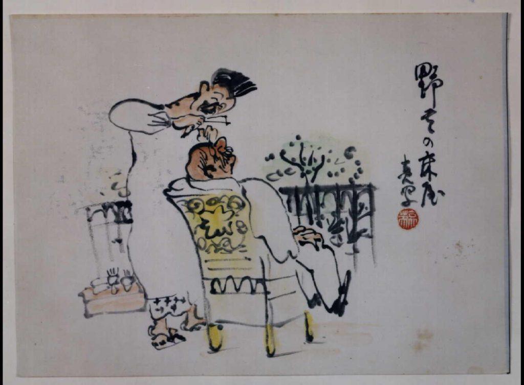 作品画像:関東大地震画:野天の床屋