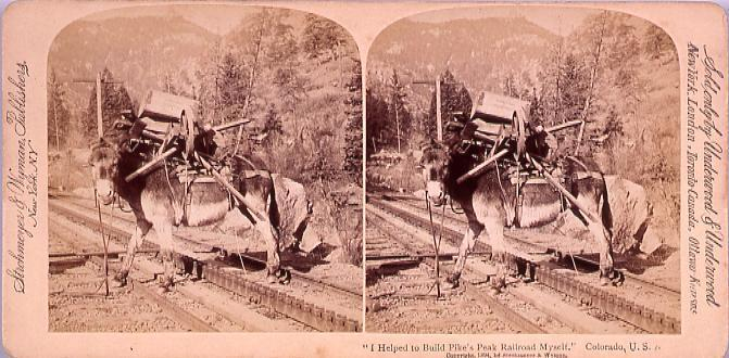 """作品画像:外国製ステレオ写真 """"I Helped to Build Pike's Peak Railroad Myself,Colorado,U.S.A."""