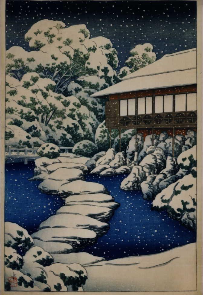 三菱深川別邸の図 池畔客室の雪