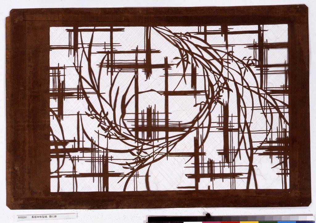 作品画像:長板中形型紙 蘭に絣