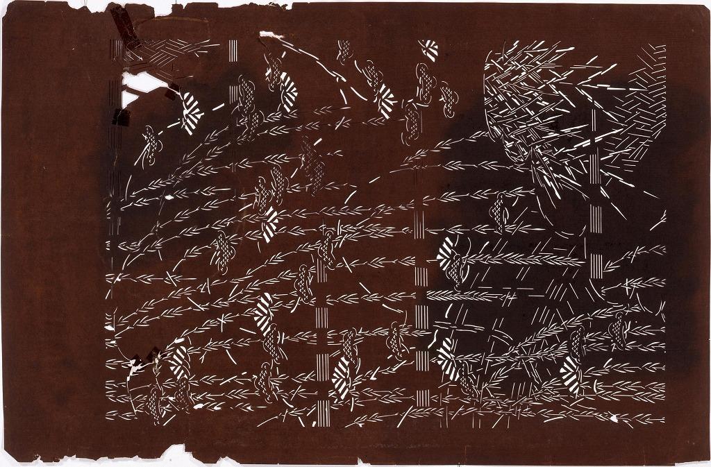 作品画像:長板中形型紙 松に柳(大判 追掛)