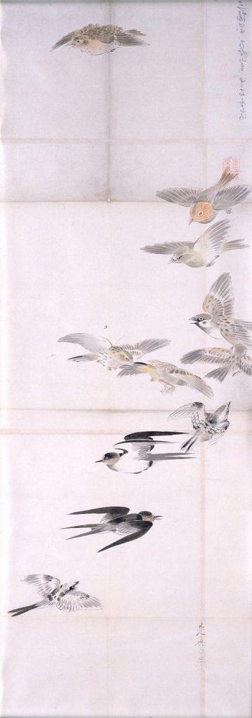 作品画像:粉本 群鳥飛翔