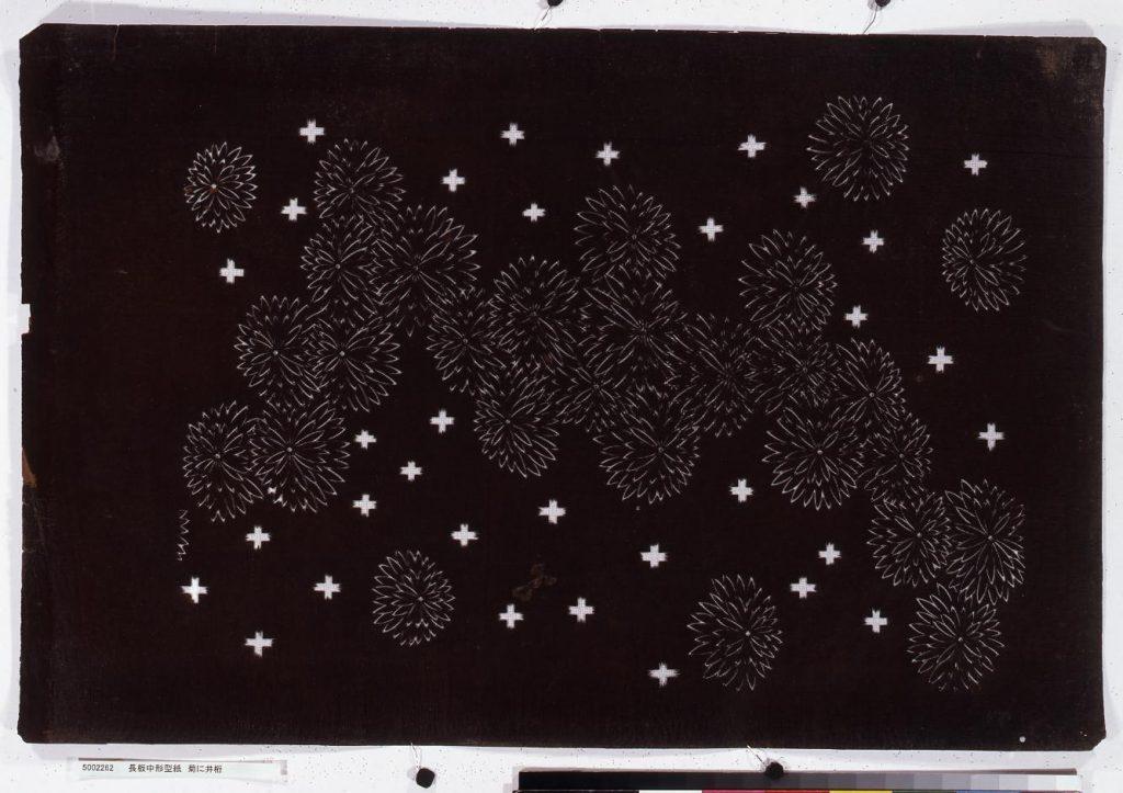 作品画像:長板中形型紙 菊に井桁