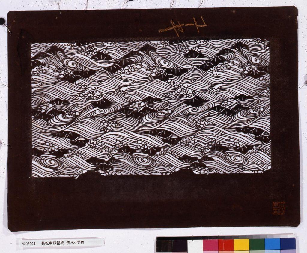 作品画像:長板中形型紙 流水うず巻