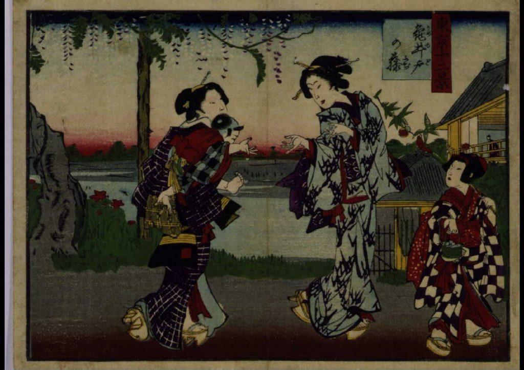 作品画像:東京十二景 亀井戸の藤