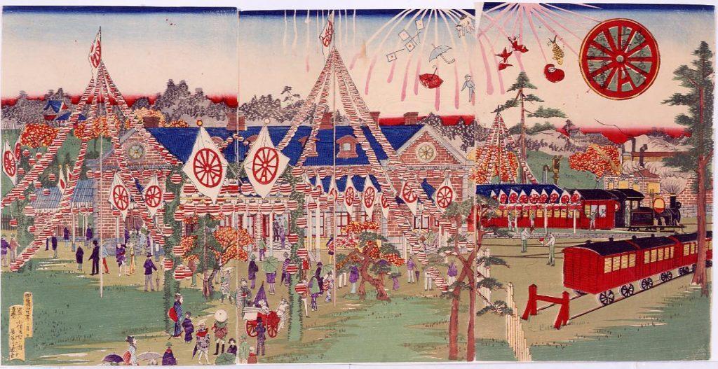 作品画像:東京名所上野山下ステション開業式気車発車之図