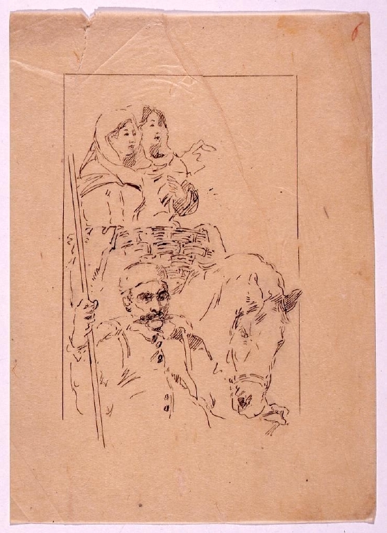 作品画像:[挿絵下絵] 馬をひく人物