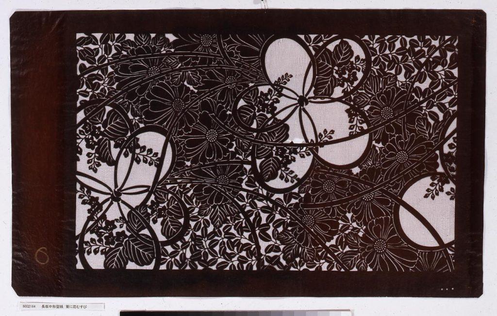 作品画像:長板中形型紙 菊に花むすび