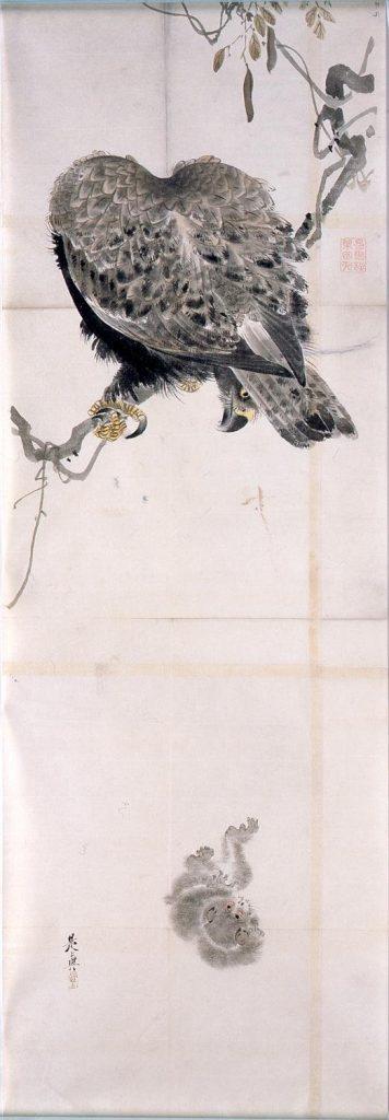 作品画像:粉本 雪中鷲