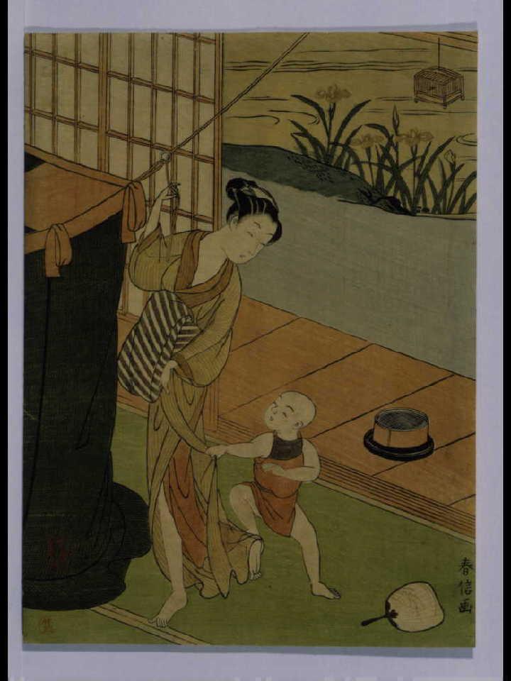 作品画像:蚊帳を吊る母子