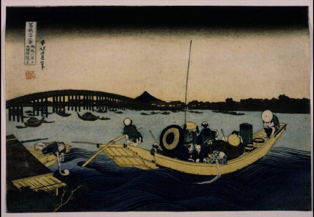 作品画像:冨嶽三十六景 御厩川岸より両国橋夕陽見