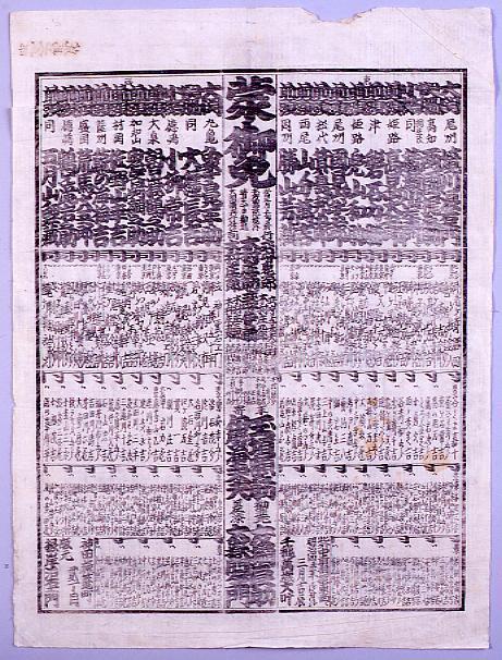作品画像:回向院大相撲番付 明治四年三月場所