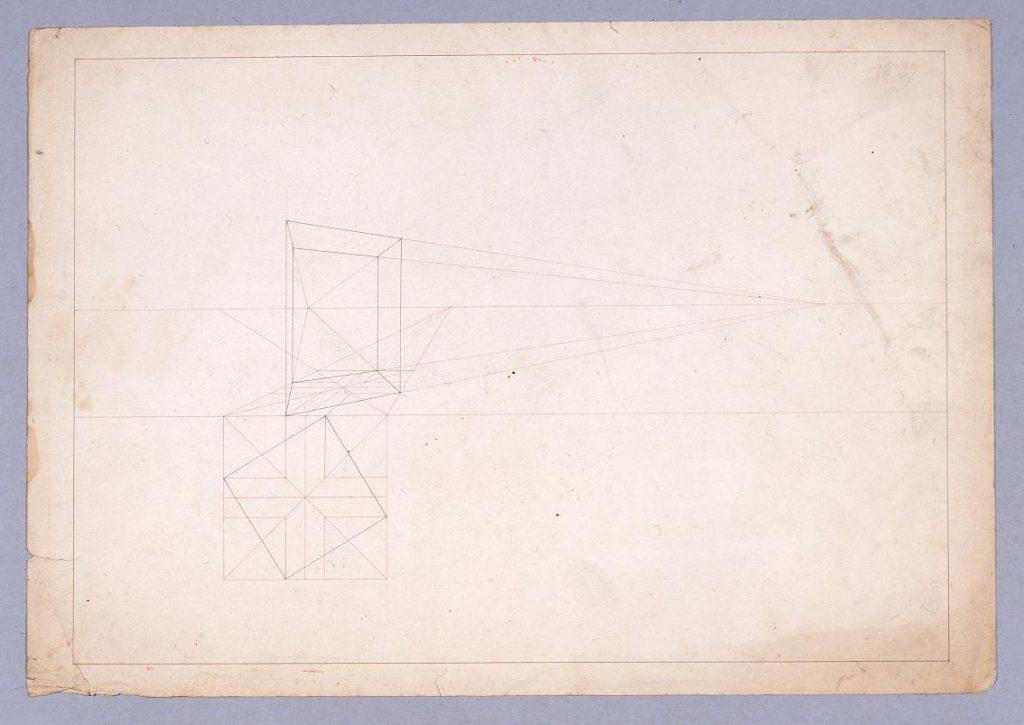 作品画像:図面習作 透視図(直方体)