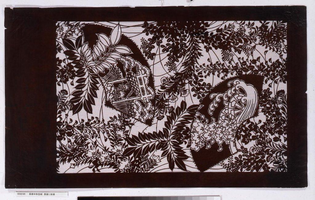 作品画像:長板中形型紙 扇面に秋草