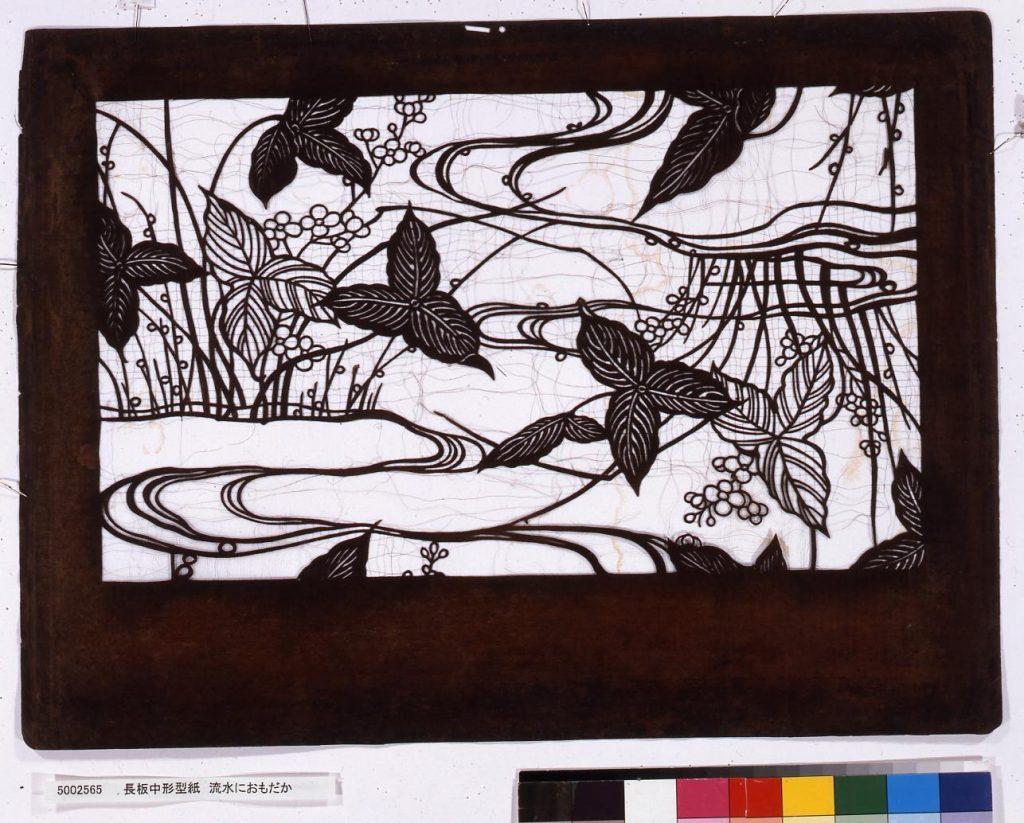 作品画像:長板中形型紙 流水におもだか