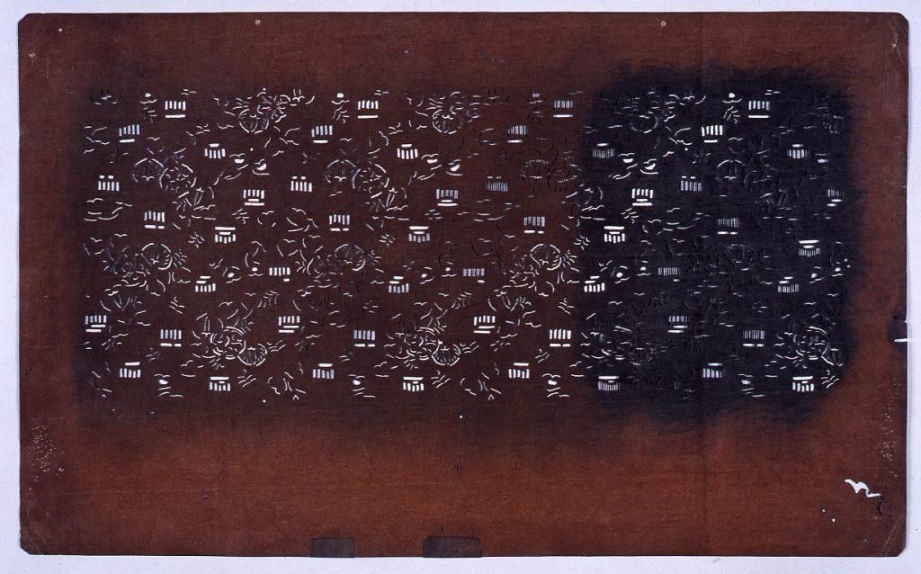 作品画像:長板中形型紙 あおいに源氏香 (小判 追掛)