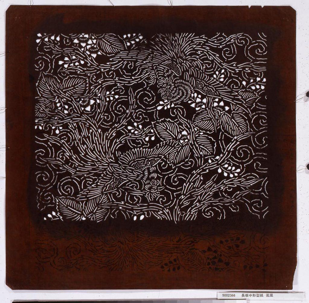 作品画像:長板中形型紙 鳳凰