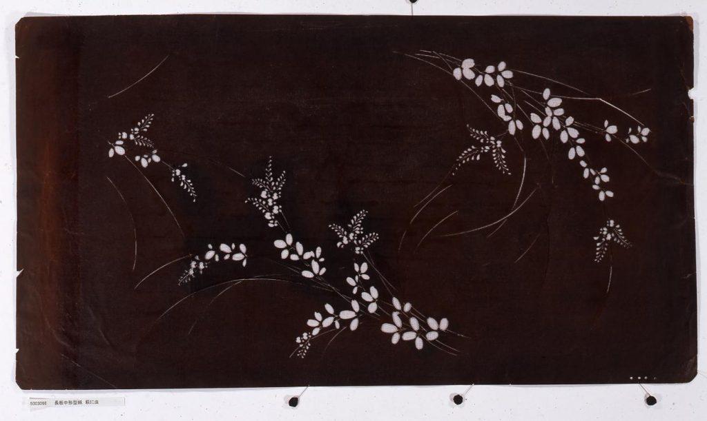作品画像:長板中形型紙 萩に虫