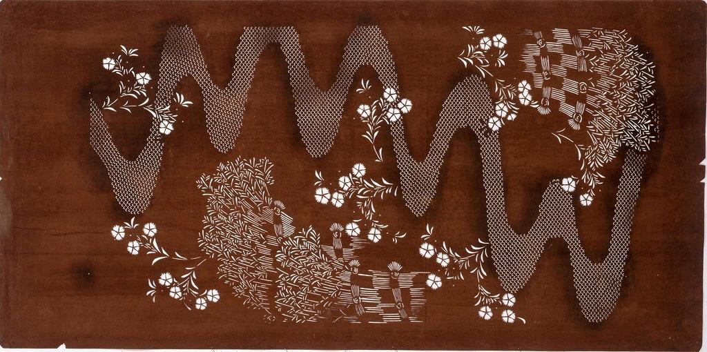 作品画像:長板中形型紙 柴垣に流水(大判 追掛)