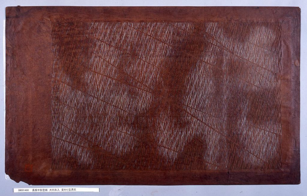 長板中形型紙 大判糸入 変わり立涌文