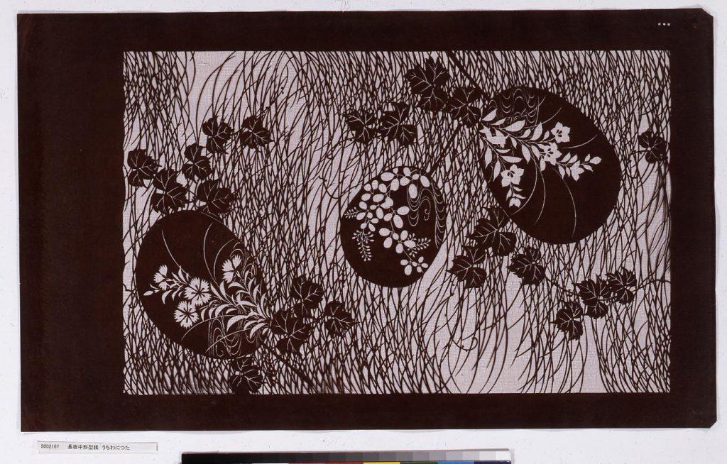 作品画像:長板中形型紙 うちわにつた