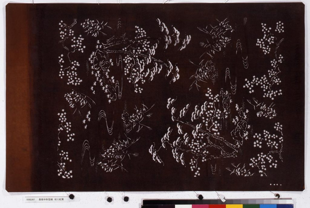 作品画像:長板中形型紙 松に紅葉