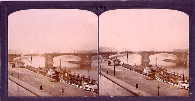 作品画像:河辺の船と橋(西欧風景)(No.275)
