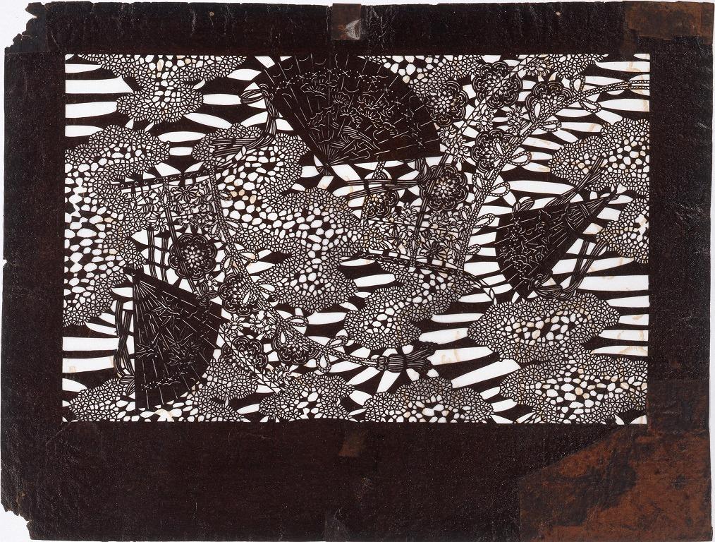 作品画像:長板中形型紙 みすに扇面 (小判 追掛)