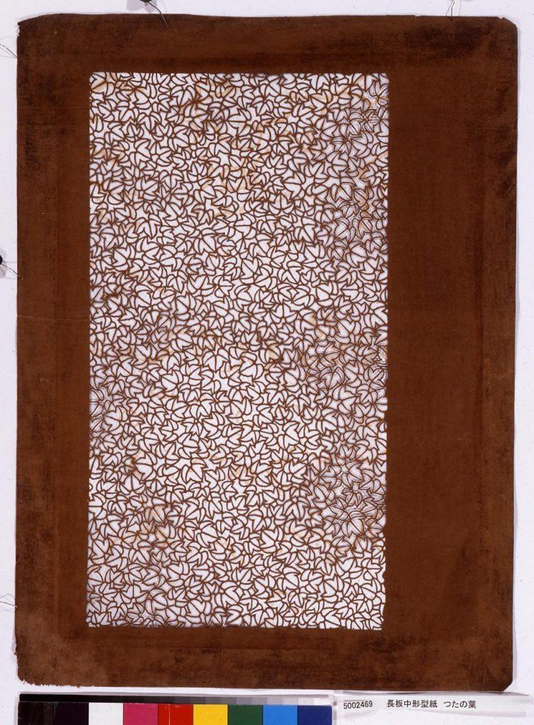 作品画像:長板中形型紙 つたの葉